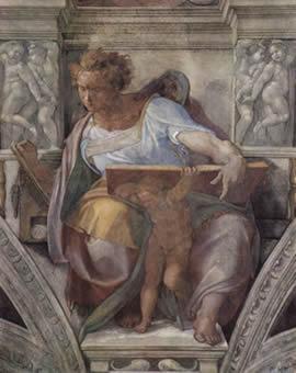 Michelangelo Buonarroti Capela Sistina na Moldura, o Profeta Daniel